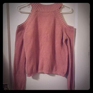 Pink open shoulder sweater